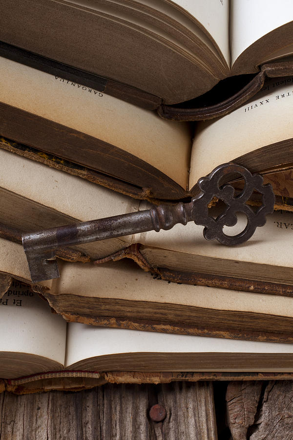 Key Photograph - Old Key On Books by Garry Gay
