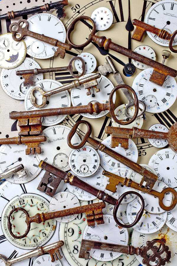 Old Keys And Watch Dails Photograph  - Old Keys And Watch Dails Fine Art Print