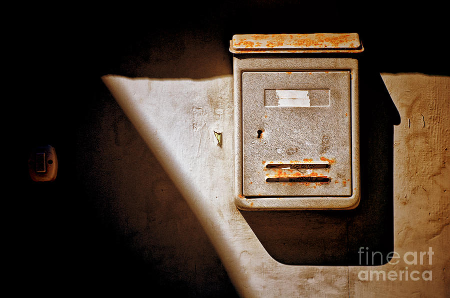 Shadows Photograph - Old Mailbox With Doorbell by Silvia Ganora