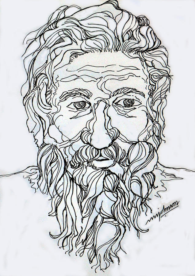 Line Drawing Pen Drawing Black White Drawing - Old Man 2 by Johnson Moya