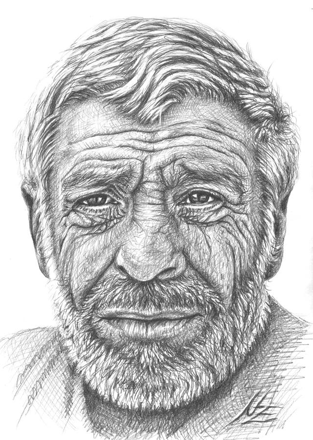 old mans face drawing - photo #1