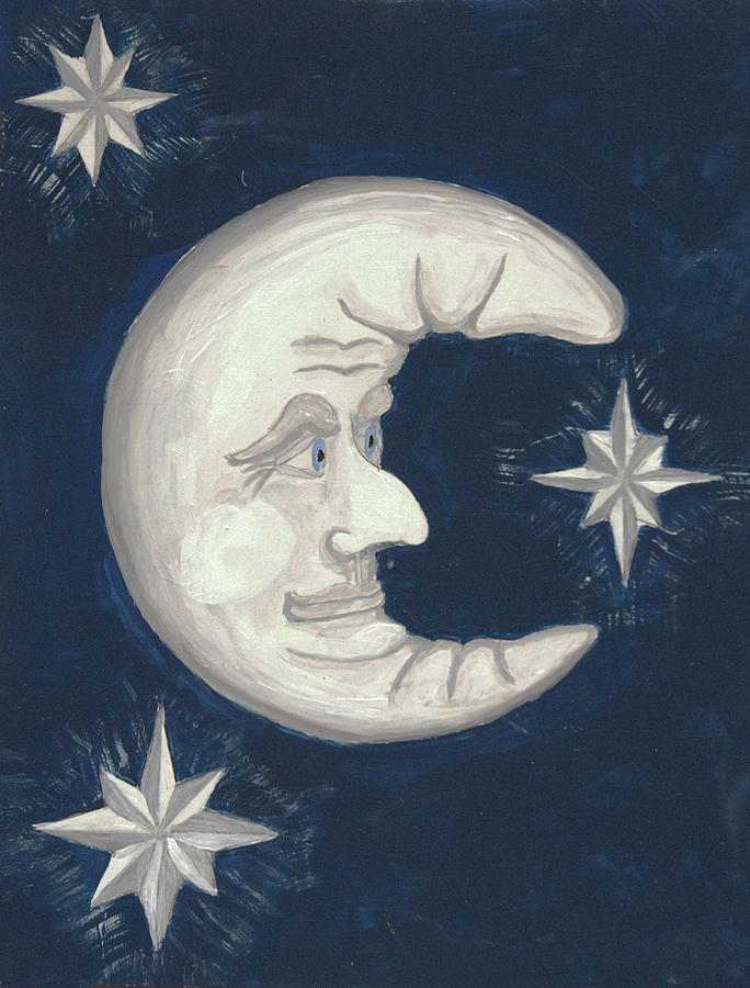 Old Man Moon Painting  - Old Man Moon Fine Art Print