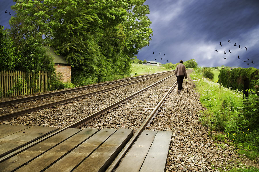 Old Man Walks Along Train Tracks Photograph  - Old Man Walks Along Train Tracks Fine Art Print