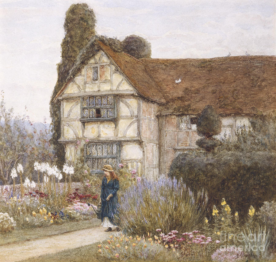 Old manor house painting by helen allingham for Classic house painting