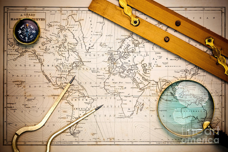 Old Map And Navigational Objects. Photograph