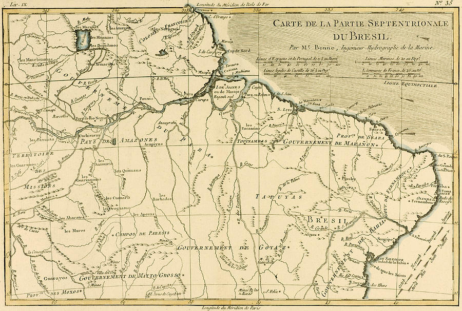 Old Map Of Northern Brazil Drawing