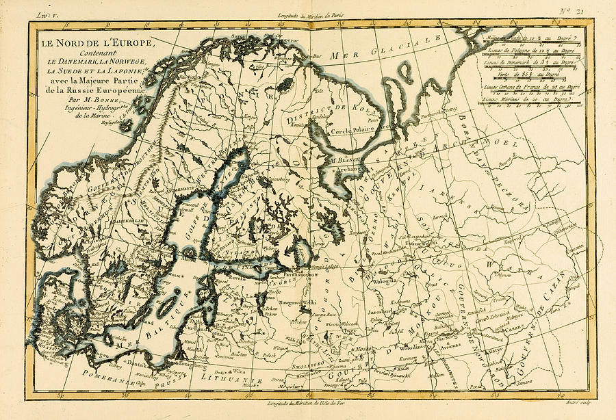 Old Map Of Northern Europe Drawing