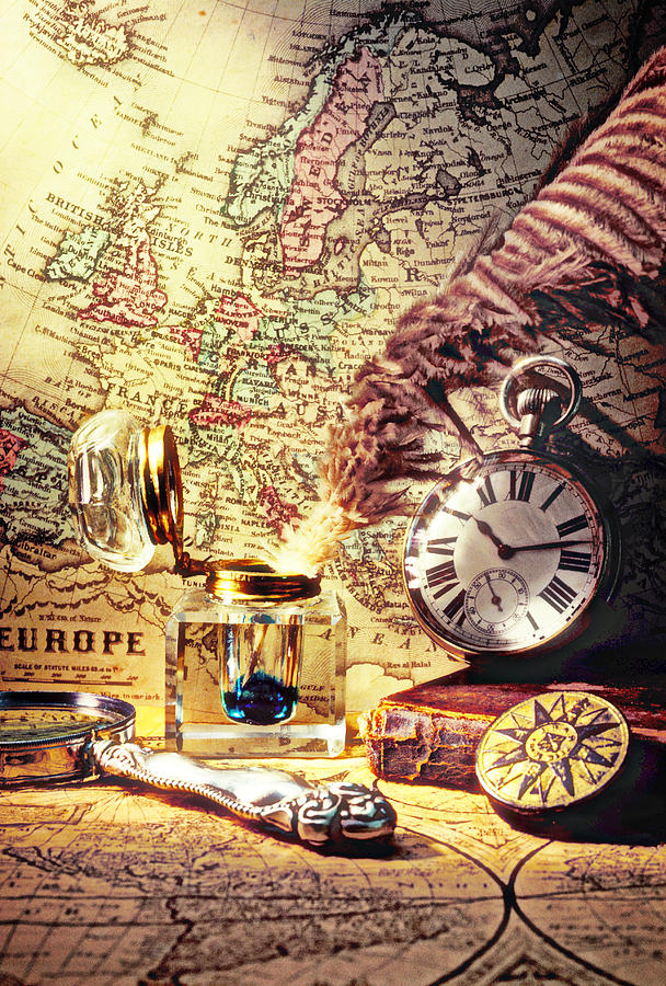 Old Maps And Ink Well Photograph  - Old Maps And Ink Well Fine Art Print