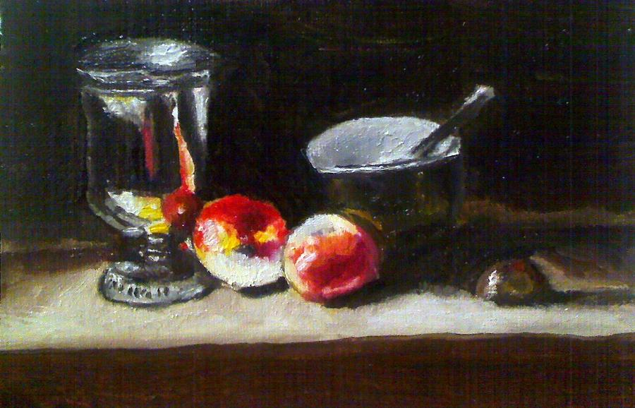 Old Master Still Life Apples And Bowl Painting