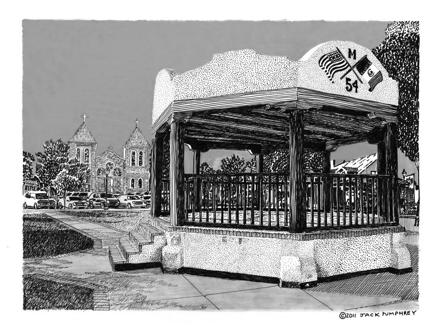 Old Mesilla Plaza And Gazebo Drawing  - Old Mesilla Plaza And Gazebo Fine Art Print