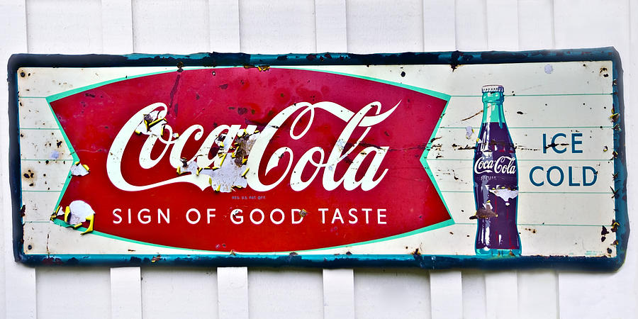 Old Metal Coke Sign Photograph  - Old Metal Coke Sign Fine Art Print