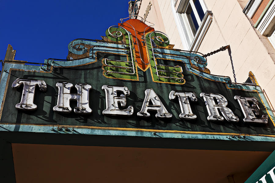 Old Movie Theatre Sign Photograph  - Old Movie Theatre Sign Fine Art Print