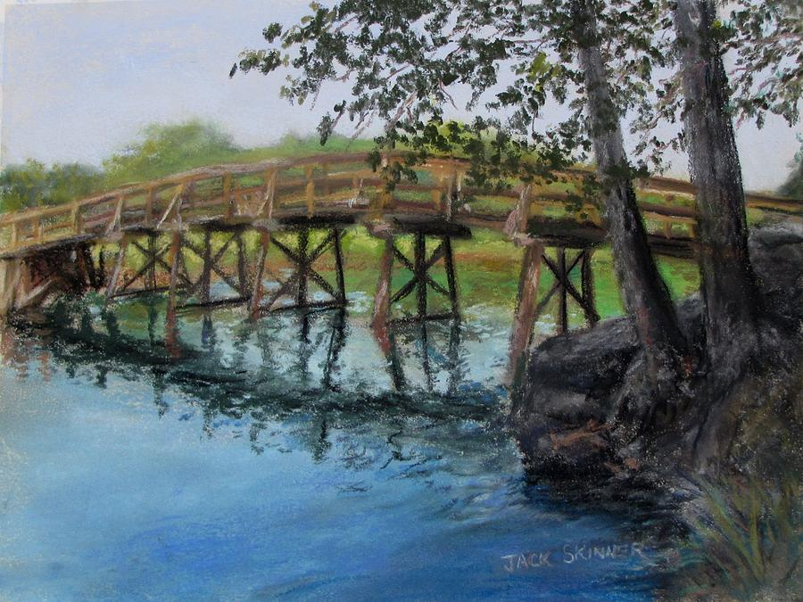 Old North Bridge In Pastel Painting  - Old North Bridge In Pastel Fine Art Print