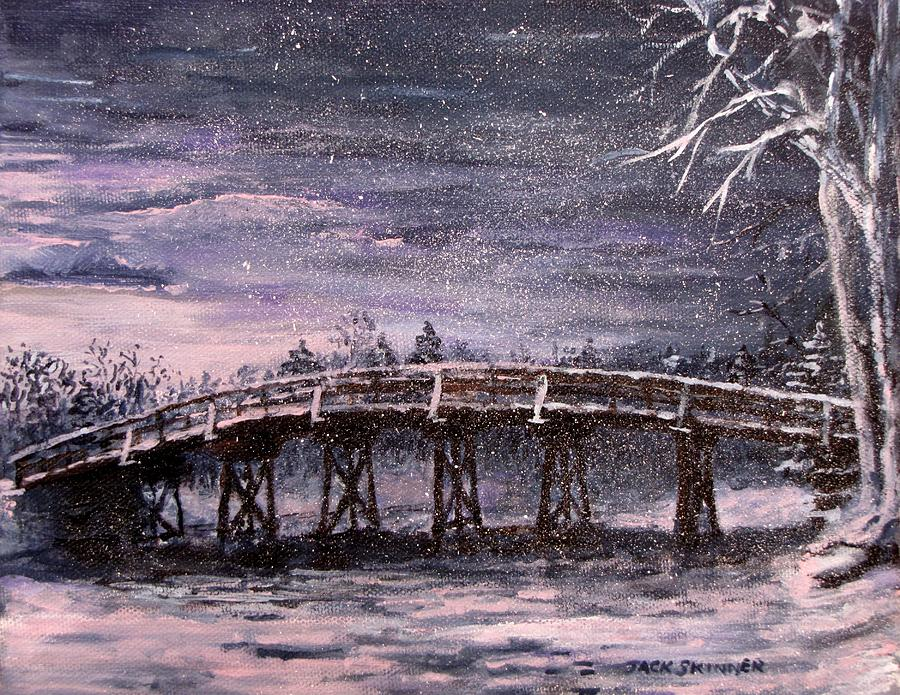 Old North Bridge In Winter Painting