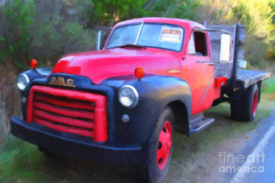 Old Nostalgic American Gmc Flatbed Truck . 7d9821 . Photo Art Photograph  - Old Nostalgic American Gmc Flatbed Truck . 7d9821 . Photo Art Fine Art Print