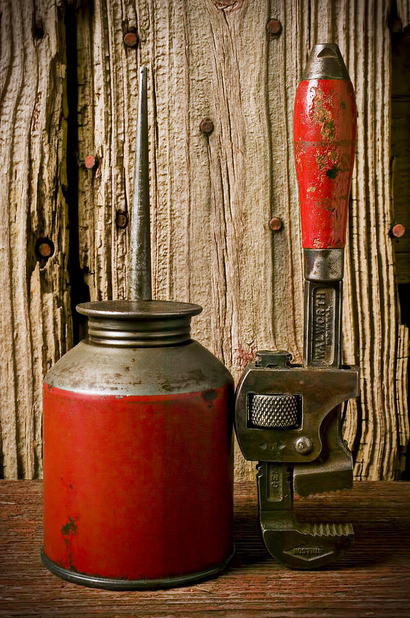 Old Oil Can And Wrench Photograph  - Old Oil Can And Wrench Fine Art Print