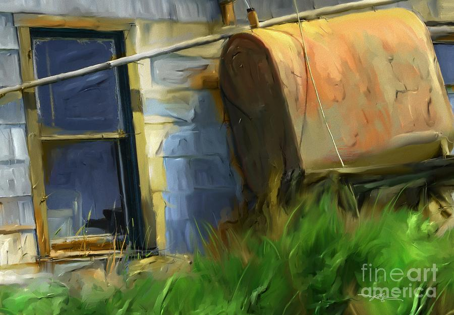 old oil tank P.E.I. Painting  - old oil tank P.E.I. Fine Art Print