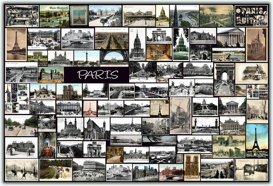 Old Paris Collage Pyrography