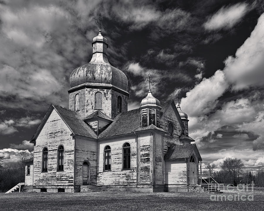 Old Prairie Church And Storm Front Photograph  - Old Prairie Church And Storm Front Fine Art Print