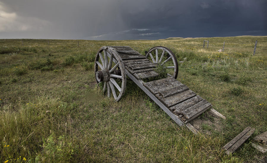 Old Prairie Wheel Cart Saskatchewan Digital Art