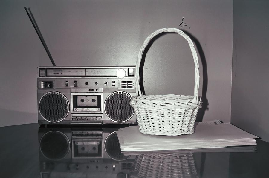 Old Radio And Easter Basket Photograph  - Old Radio And Easter Basket Fine Art Print