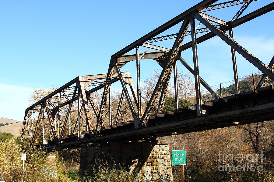 Old Railroad Bridge At Union City Limits Near Historic Niles District In California . 7d10736 Photograph  - Old Railroad Bridge At Union City Limits Near Historic Niles District In California . 7d10736 Fine Art Print