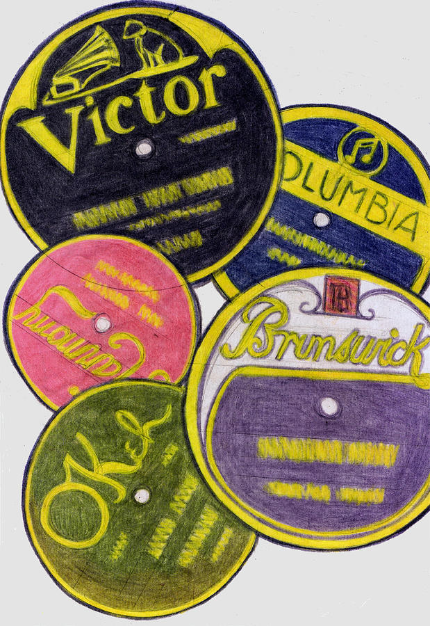 Old record labels drawing by mel thompson for Classic house record labels