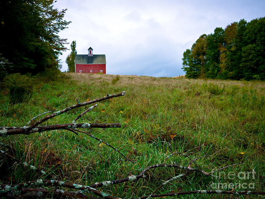 Barn Photograph - Old Red Barn On The Hill by Edward Fielding