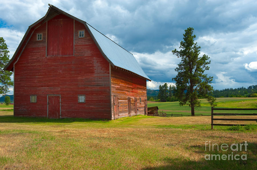 Old Red Big Sky Barn  Photograph  - Old Red Big Sky Barn  Fine Art Print