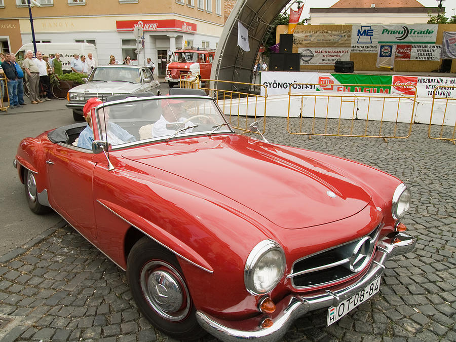 Old red mercedes benz photograph by odon czintos for Mercedes benz mt laurel