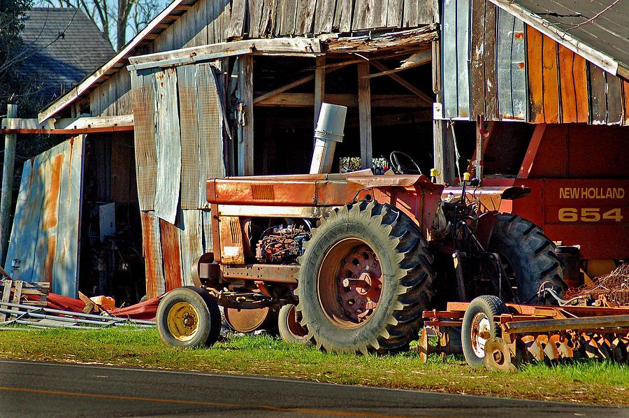 Old Red Tractor And The Barn Painting  - Old Red Tractor And The Barn Fine Art Print