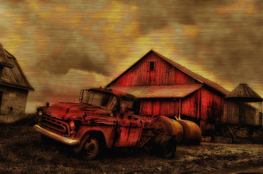 Old Red Truck And Barn Photograph  - Old Red Truck And Barn Fine Art Print