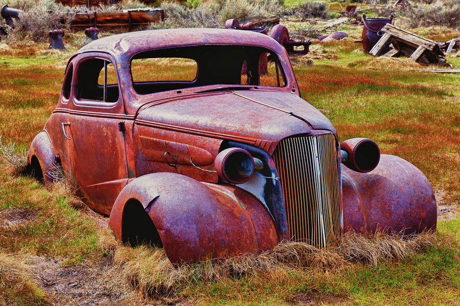 Old Rusty Car Bodie Ghost Town Photograph  - Old Rusty Car Bodie Ghost Town Fine Art Print
