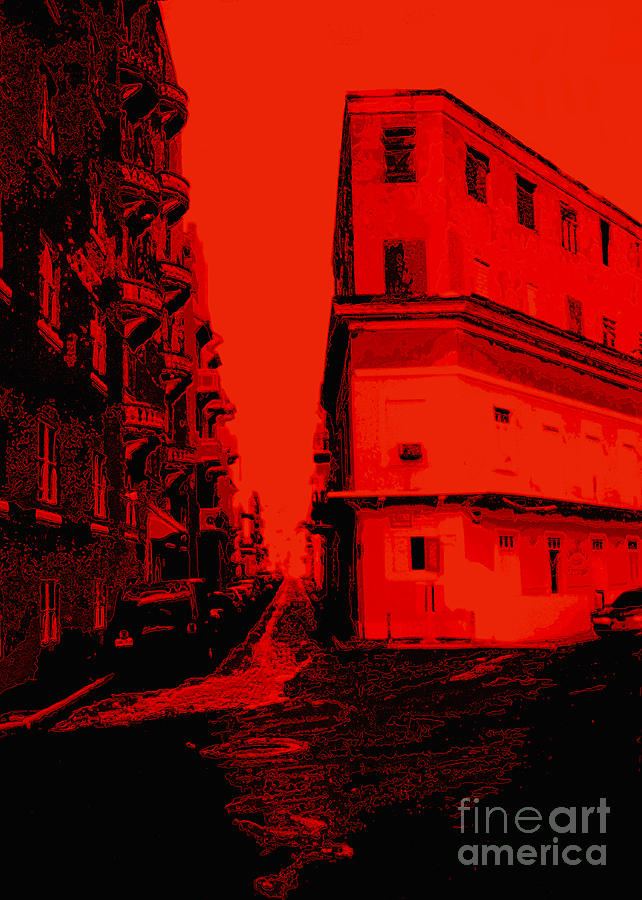 Old San Juan In Red And Black Photograph
