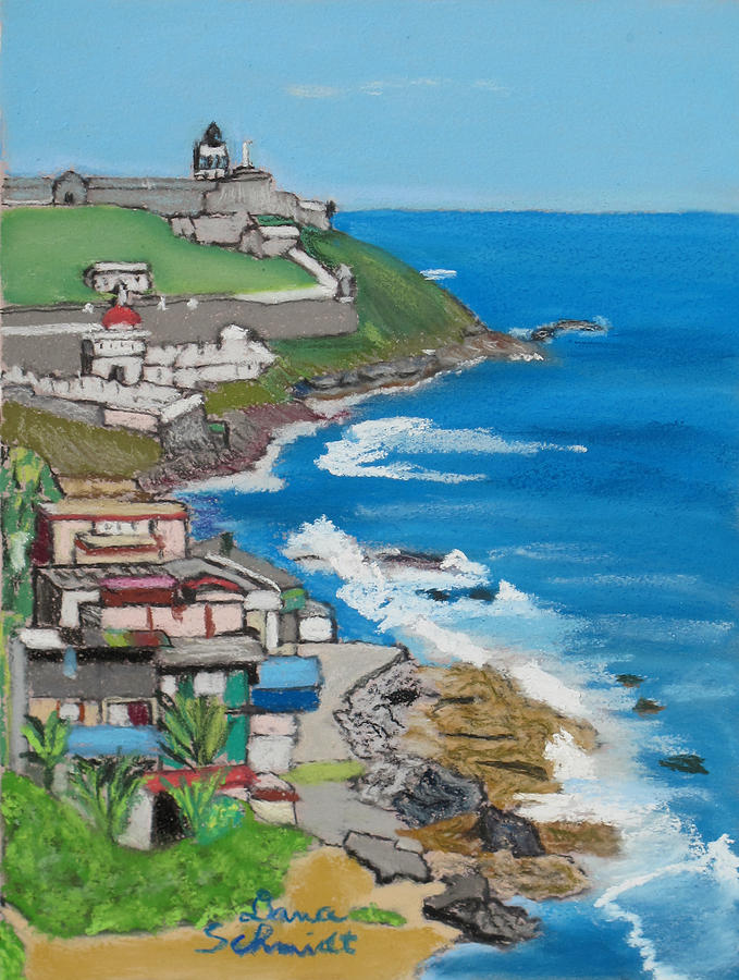 Old San Juan Seacoast In Puerto Rico Painting