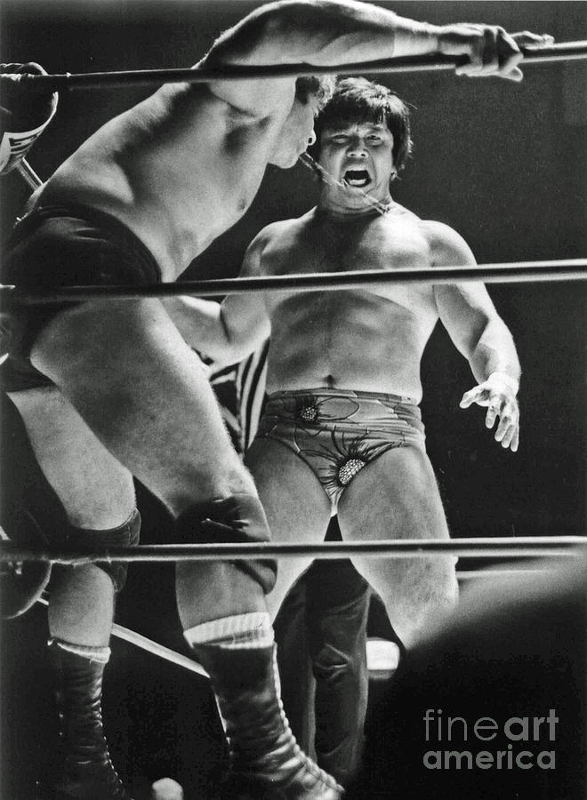 Old School Wrestling Photograph - Old School Wrestling Karate Chop On Don Muraco By Dean Ho by Jim Fitzpatrick