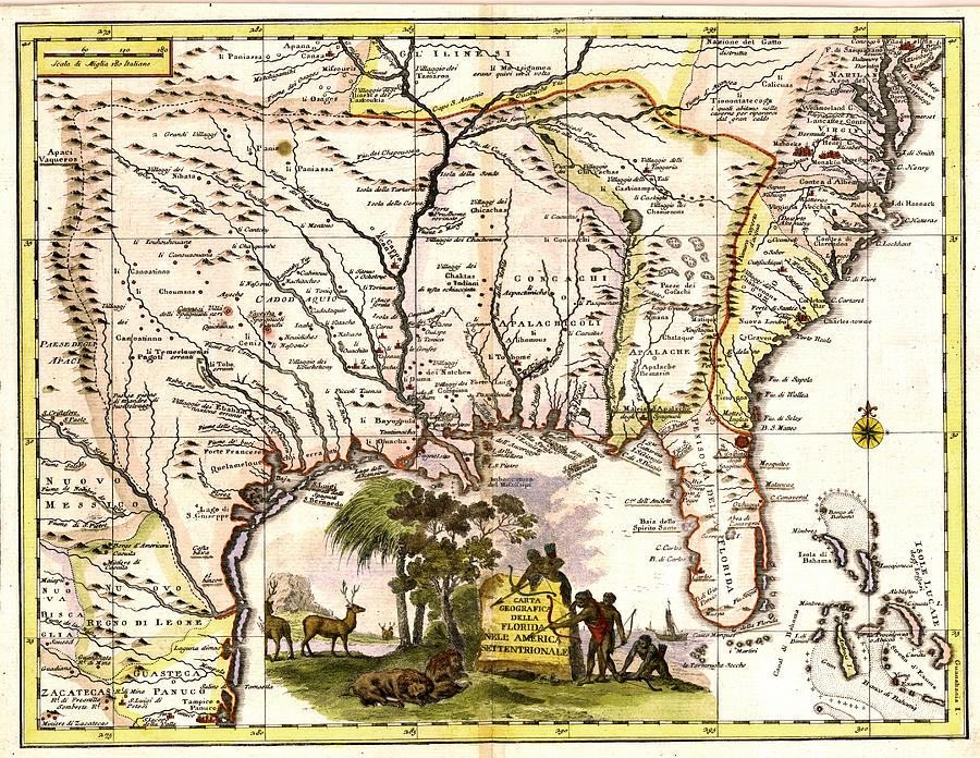 Old  Se United States Map  Painting
