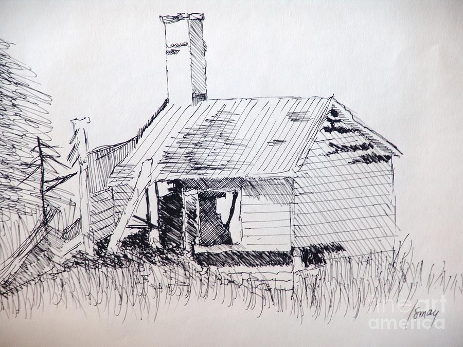 Old Shed Drawing  - Old Shed Fine Art Print
