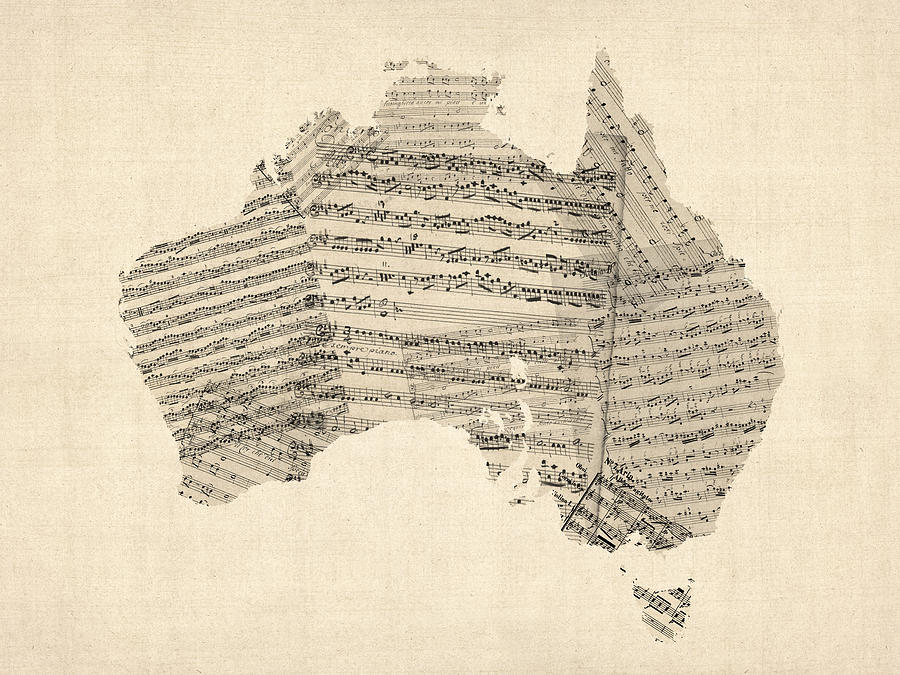 Old Sheet Music Map Of Australia Map Digital Art  - Old Sheet Music Map Of Australia Map Fine Art Print