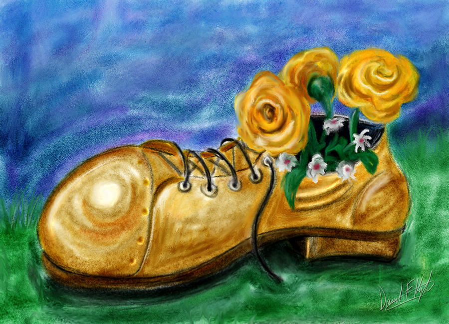 Old Shoe Planter Painting  - Old Shoe Planter Fine Art Print