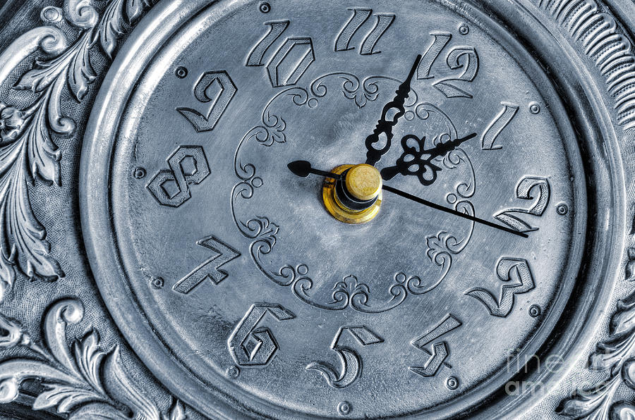 Alarm Photograph - Old Silver Clock by Carlos Caetano