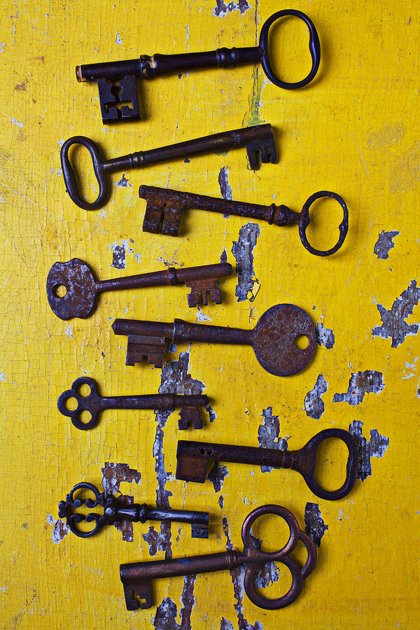 Old Skeleton Keys Photograph  - Old Skeleton Keys Fine Art Print
