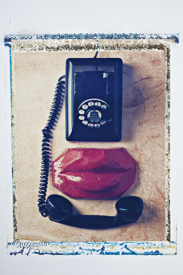 Old Telephone And Red Lips Photograph