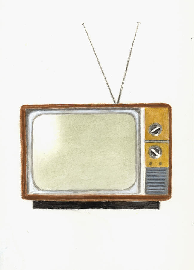 Old Television Set Painting