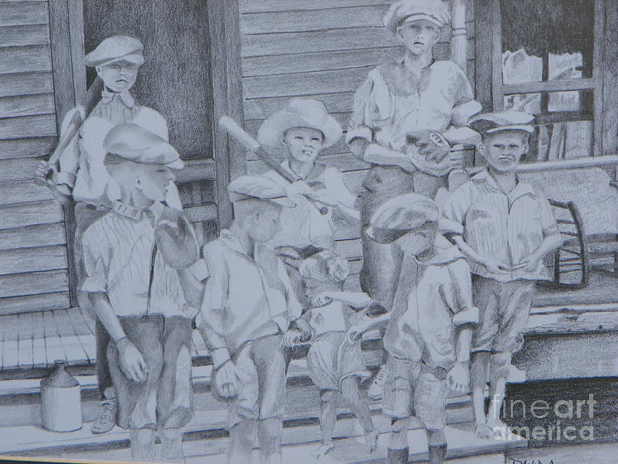 Old Time Baseball Drawing  - Old Time Baseball Fine Art Print
