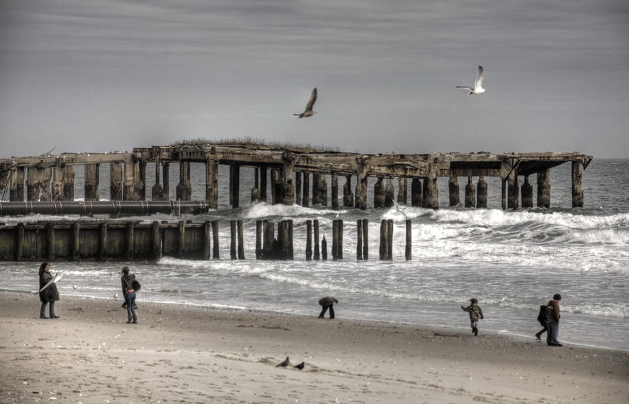 Old Time Beach Scene At Atlantic City New Jersey