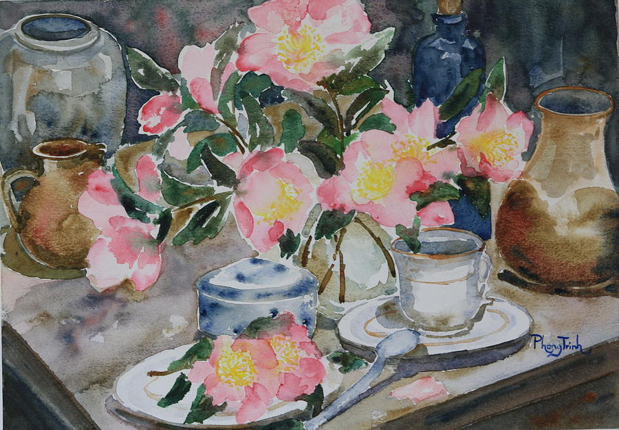 Old Time Pink Camelia Painting