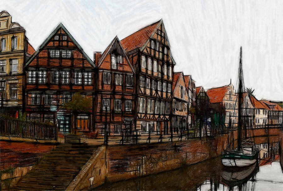 Town Old Painting Oil Pastel Ship Boat Architecture Germany  Truss Expressionism  Pastel - Old Times  by Steve K
