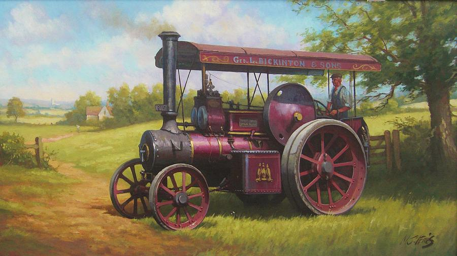 Old Traction Engine. Painting