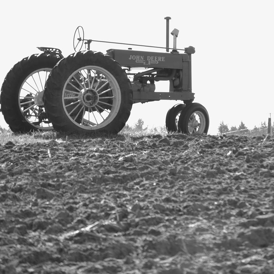 Old Tractor II In Black-and-white Photograph by JD Grimes